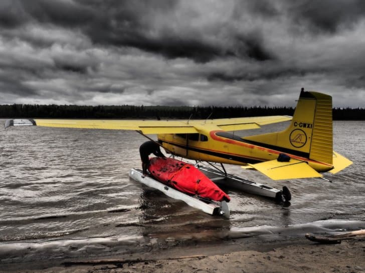 Nahanni River by Canoe: The canoe and all gear packed into the Cessna.
