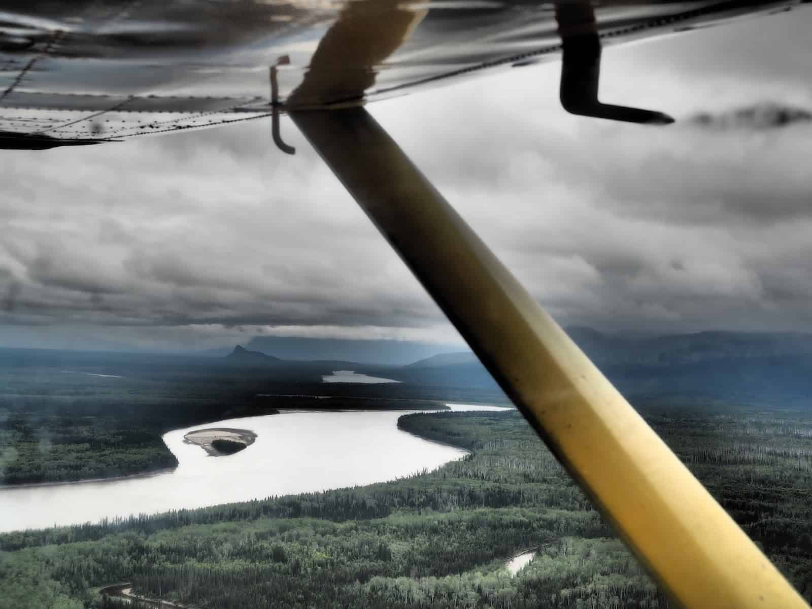 Nahanni River by Canoe: View of the Liard River from the Cessna.