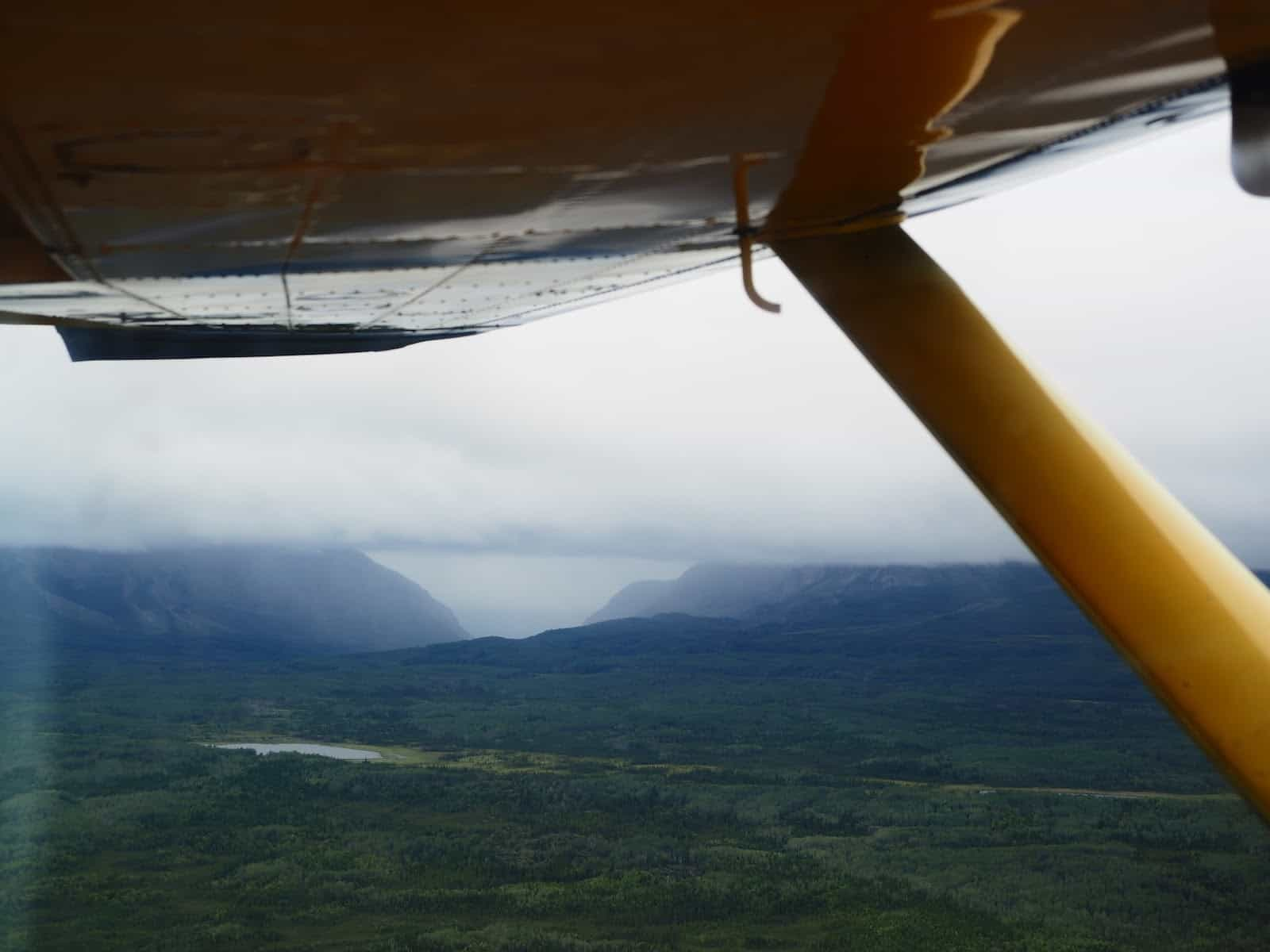 Nahanni River by Canoe: The pass occluded by clouds.