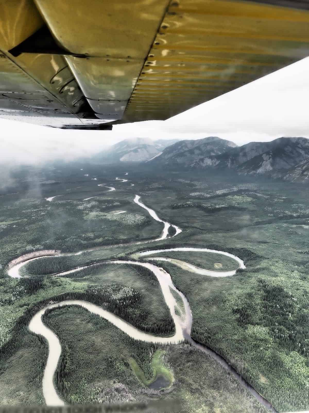 Nahanni River by Canoe: S-Curves in the river viewed from the sky.