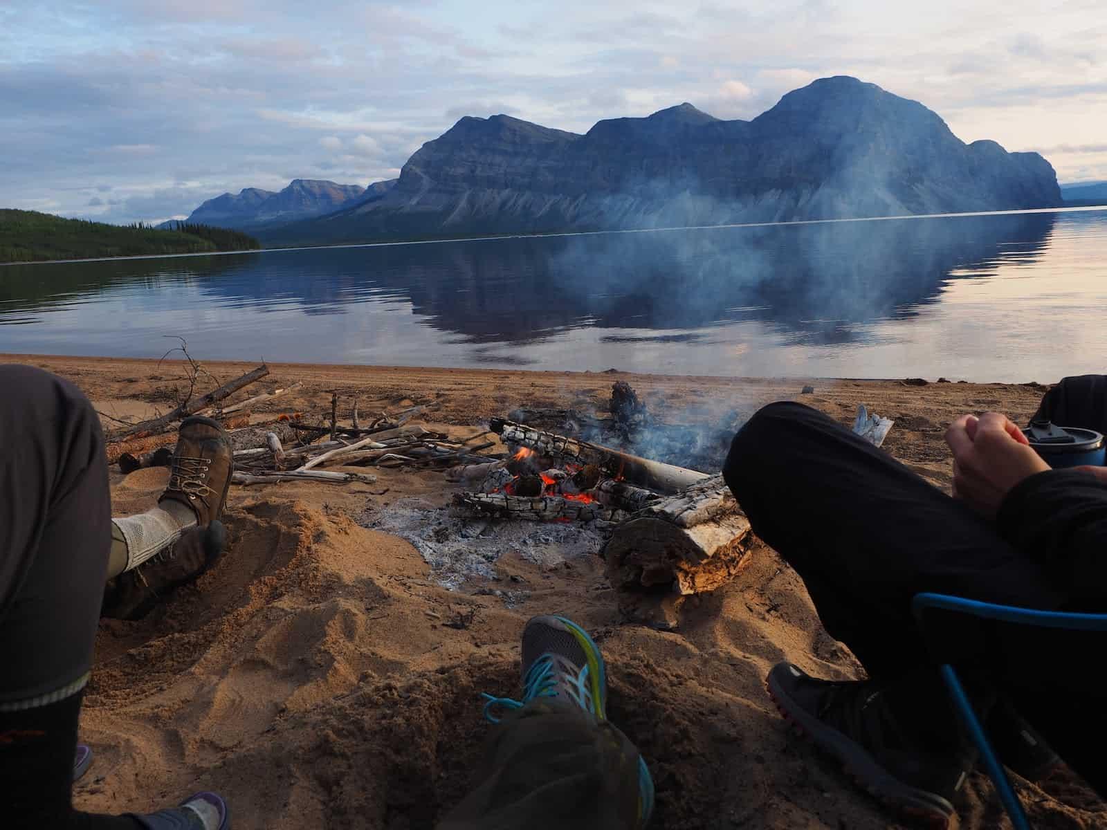 Nahanni River by Canoe: Campfire on a beach