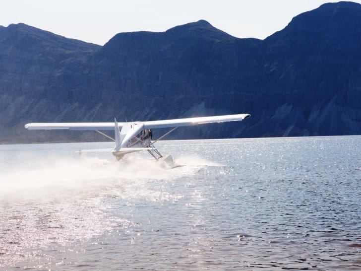 Nahanni River by Canoe: Bush Plane taking off from Doc Lake.