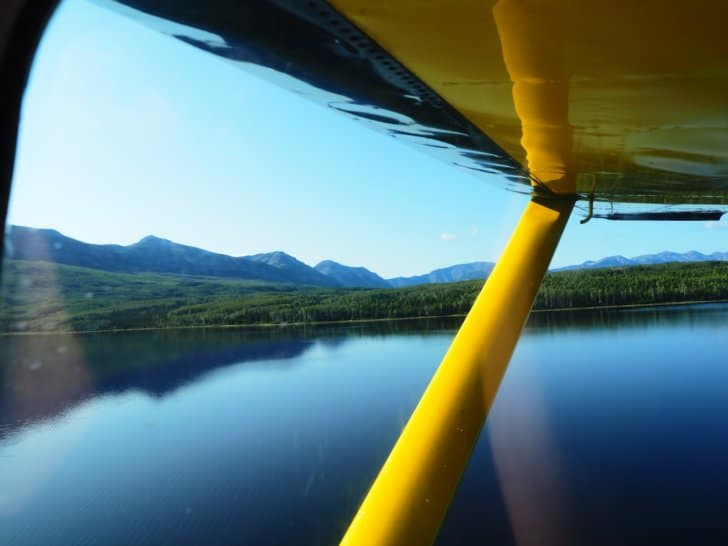 Nahanni River by Canoe: Flying away from Doc Lake