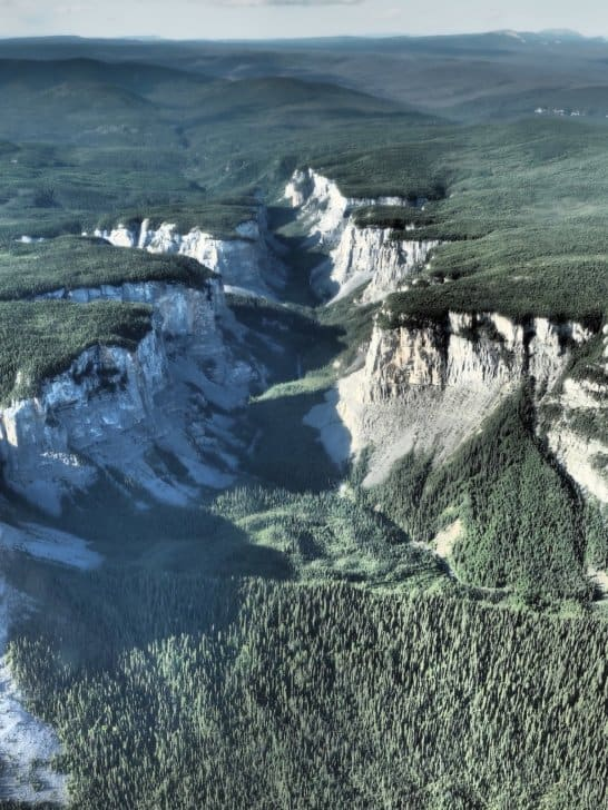 Nahanni River by Canoe: A gorge viewed from the sky