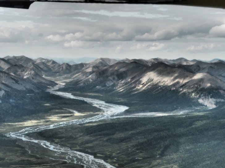 Nahanni River by Canoe: mountains from the view of the Cessna.