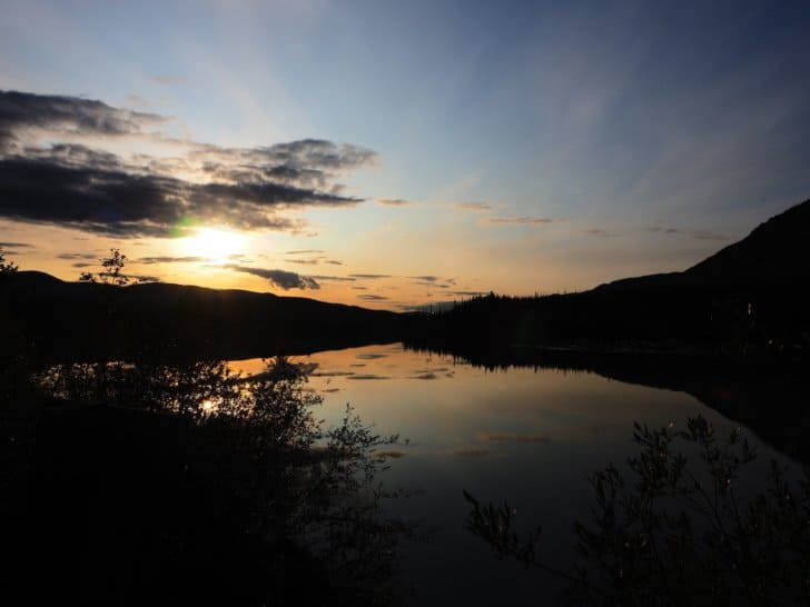 Nahanni River by Canoe: Sunset over the Nahanni River.