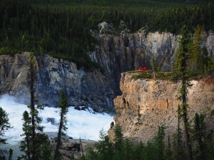 Nahanni River by Canoe: Parks Canada Red Chairs overlooking Virginia Falls.