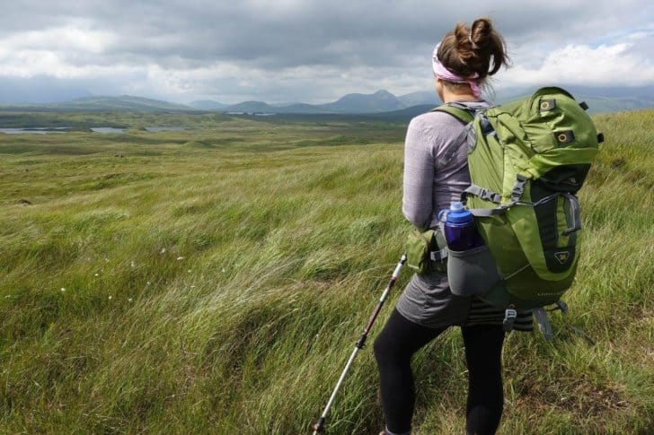 relationship while backpacking: the author's wife looking over a valley