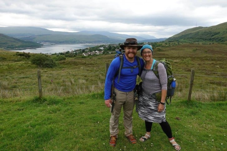 relationship while backpacking: the author and his wife in the Scottish country-side