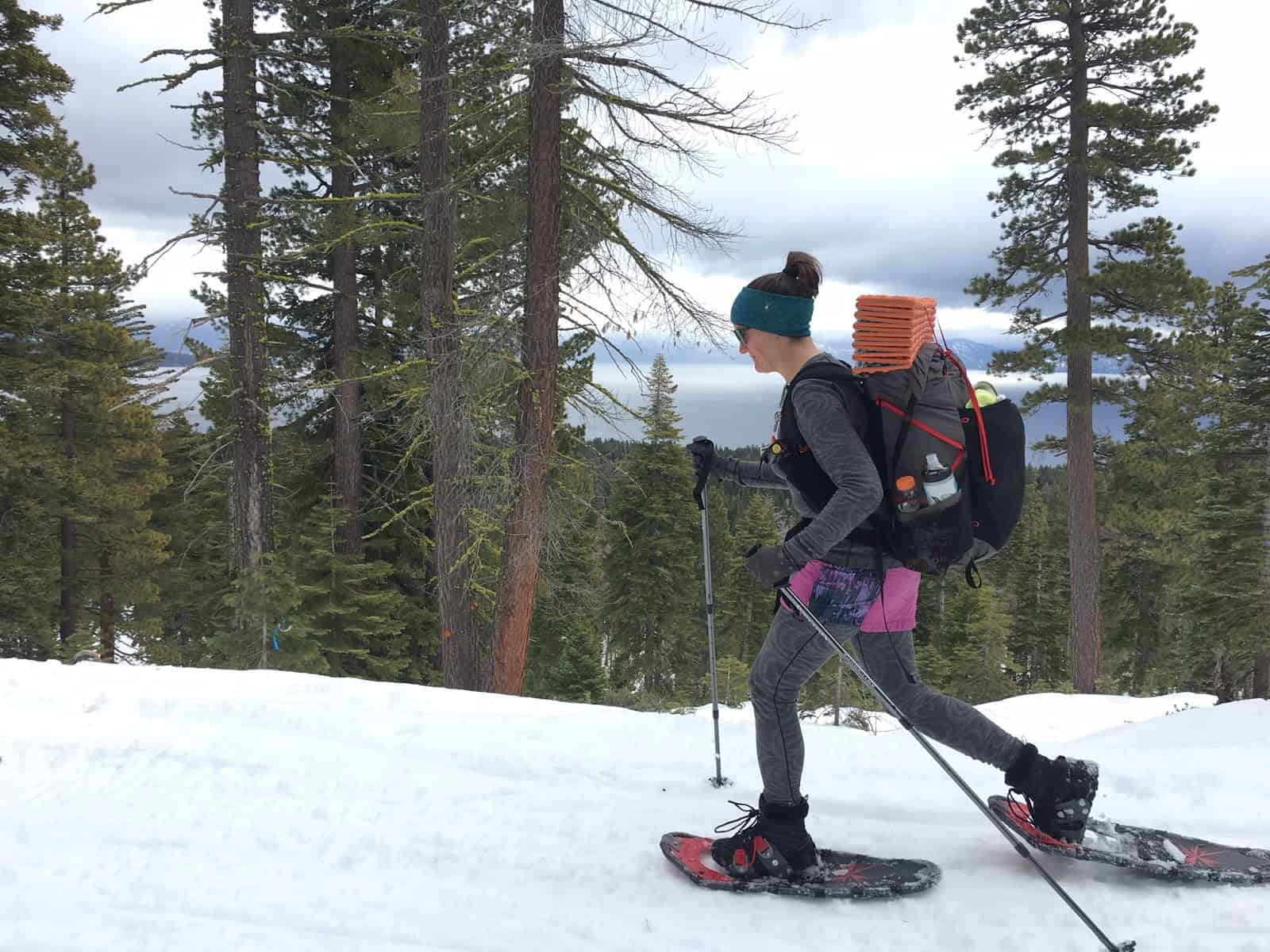 relationship while backpacking: the author's wife snowshoeing