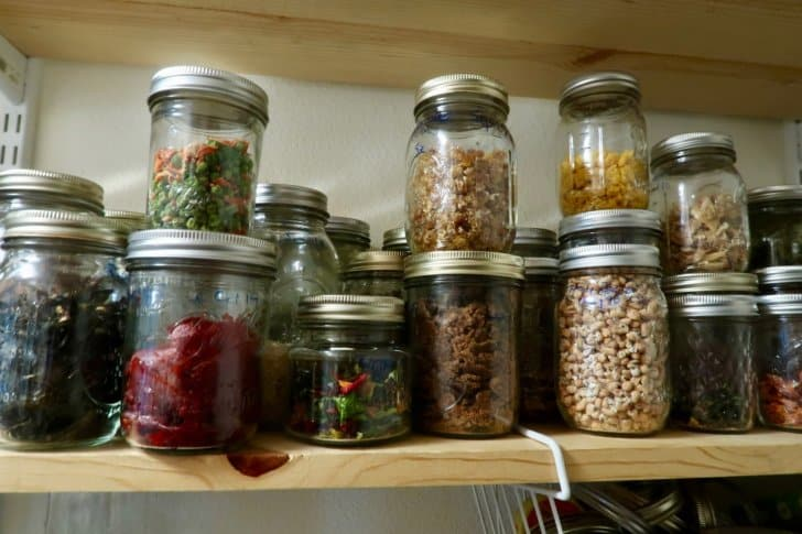 how to dehydrate backpacking food: dehydrated food in pantry