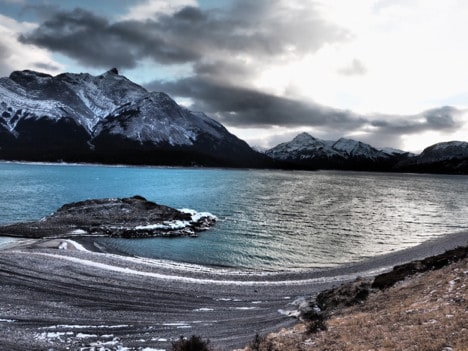 Nahanni RIver by Canoe: Dark clouds over Lake Abraham