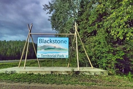 Nahanni River by Canoe: Blackstone Territorial Park Sign