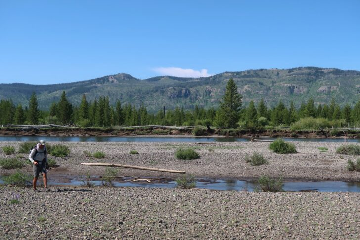 Hiking the Yellowstone Caldera Loop: Approaching the ford