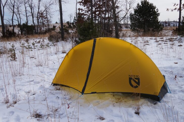 NEMO Equipment Hornet Elite 2P review: tent pitched in snow