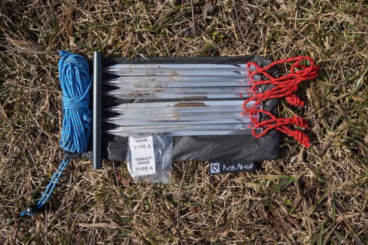 NEMO Equipment Hornet Elite 2P review: stakes, guylines, and repair kit