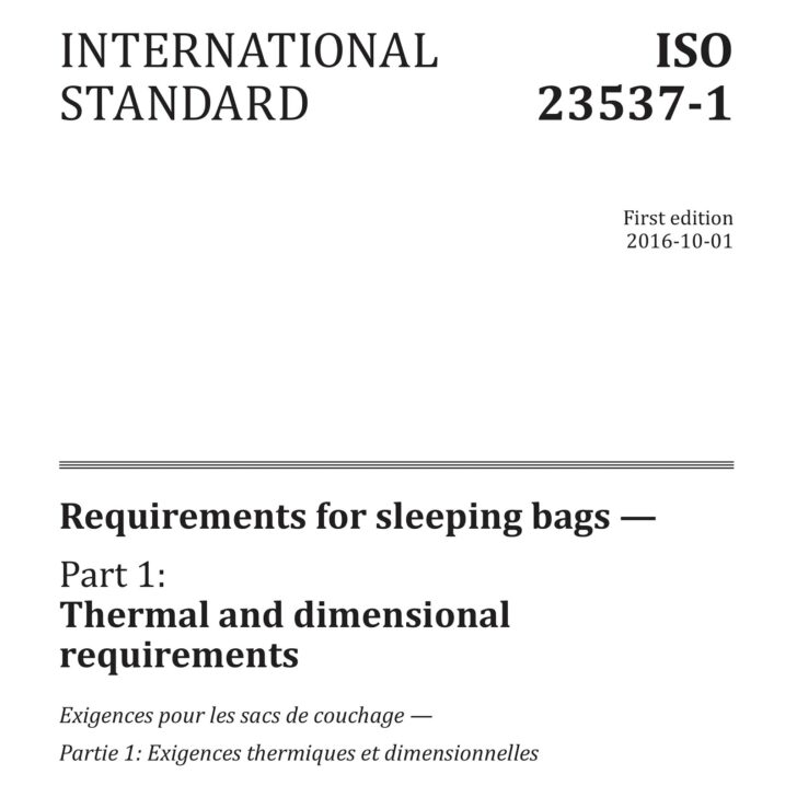 Sleeping bag temperature ratings : ISO cover
