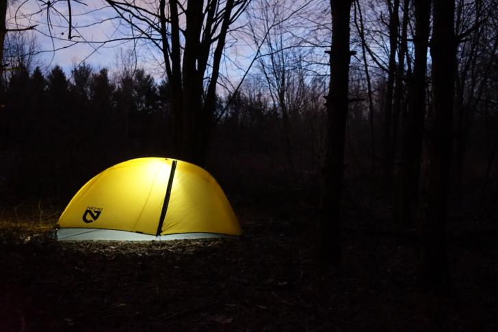 NEMO Equipment Hornet Elite 2P review: the tent at night