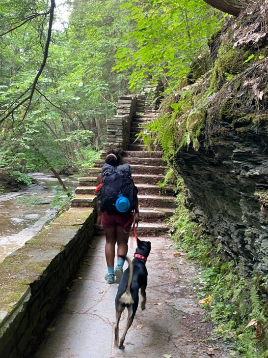 Shilletha Curtis Hiking with Dog