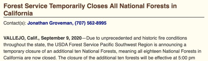 USFS Closes All