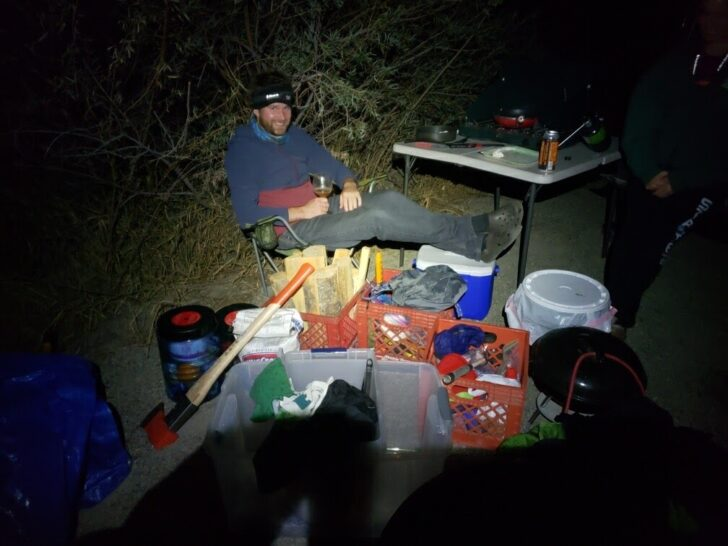 The author with a bunch of outdoor gear.