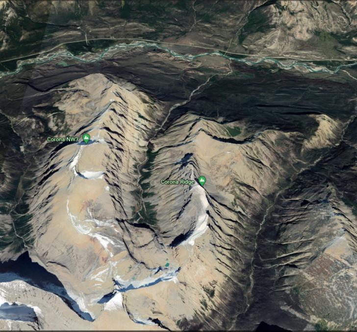 Corona Ridge via Google Earth