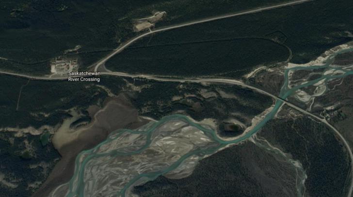 Google Earth view of the Saskatchewan River Crossing