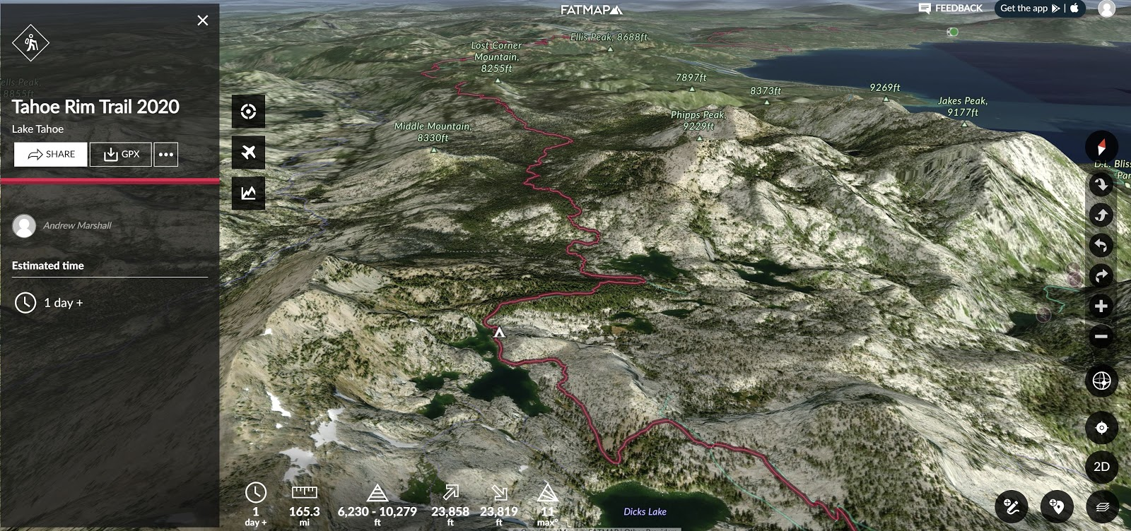 A 3D map of the Lake Tahoe region.