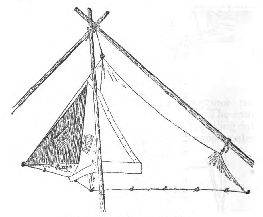 illustration of old style tarp tent pitched with wooden poles