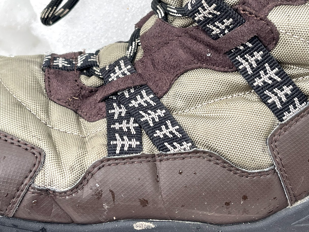 Xero Shoes Alpine Snow Boot closeup view of huarache straps integrated with lacing system