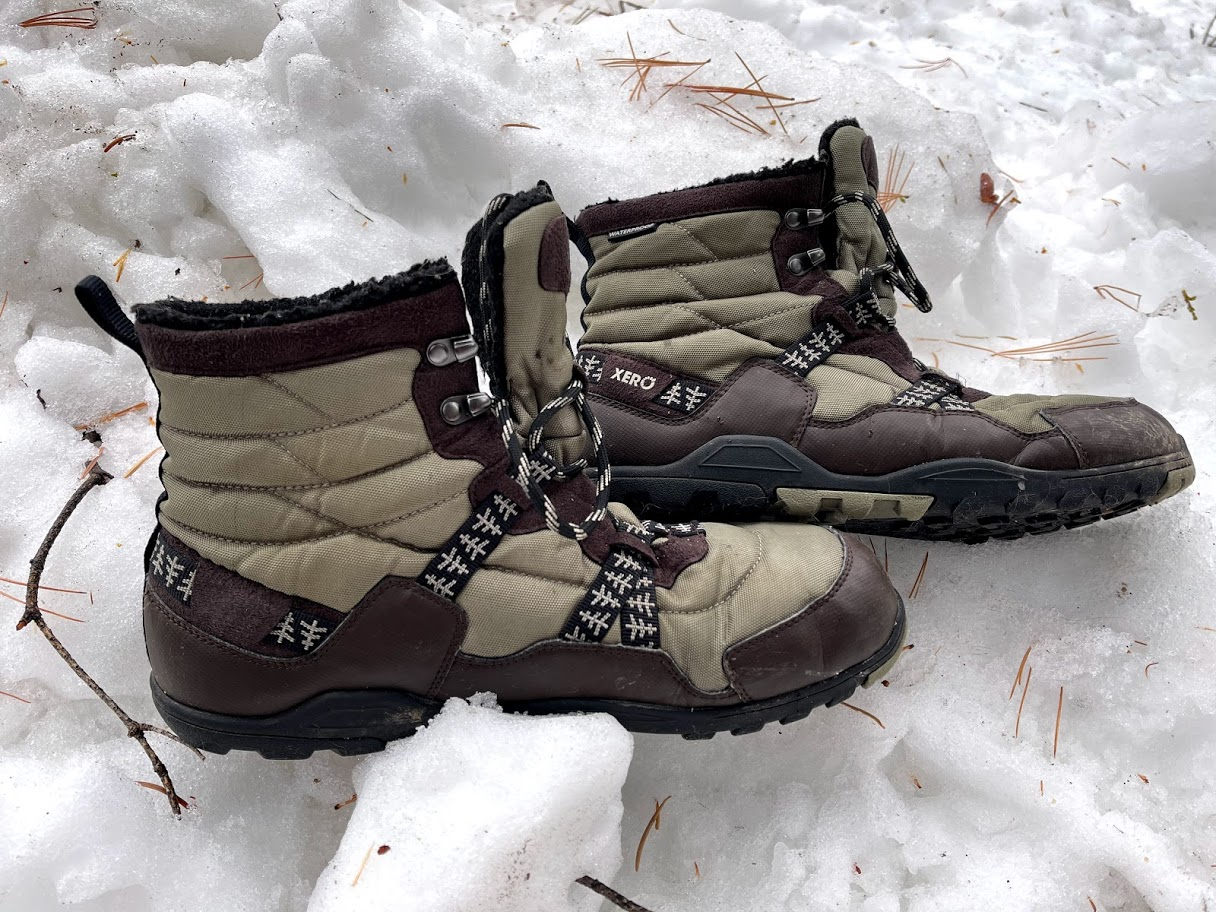 Xero Shoes Alpine Snow Boot, side view of both boots