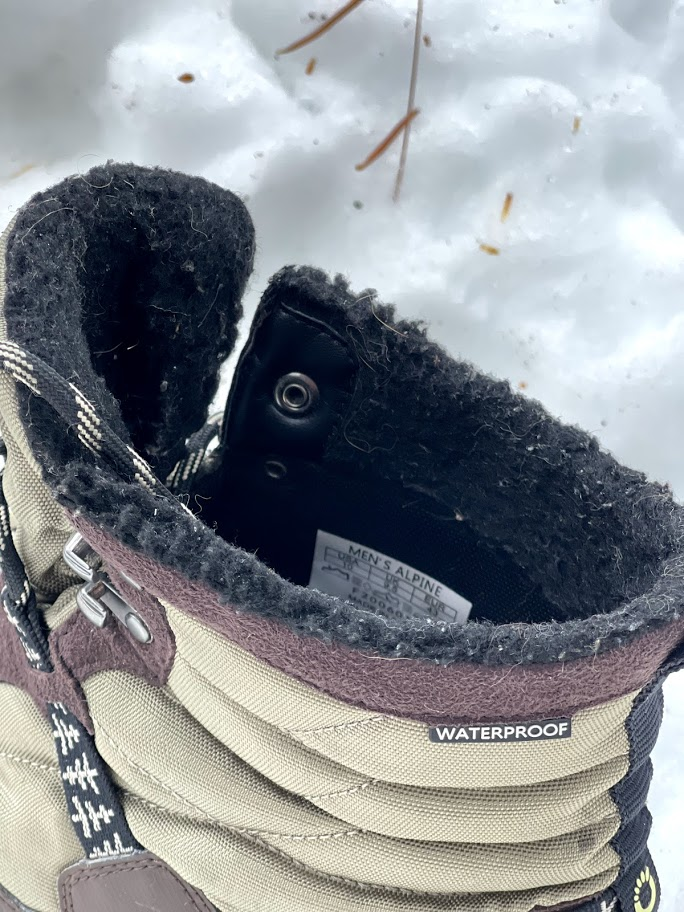 Xero Shoes Alpine Snow Boot showing fuzzy insulated lining, looking down into ankle cuff