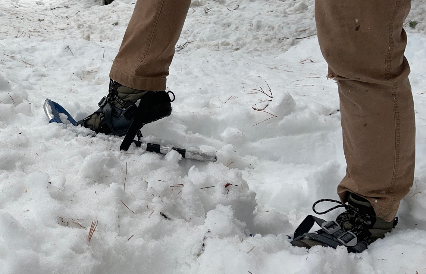 Xero Shoes Alpine Snow Boot with snowshoes on snow
