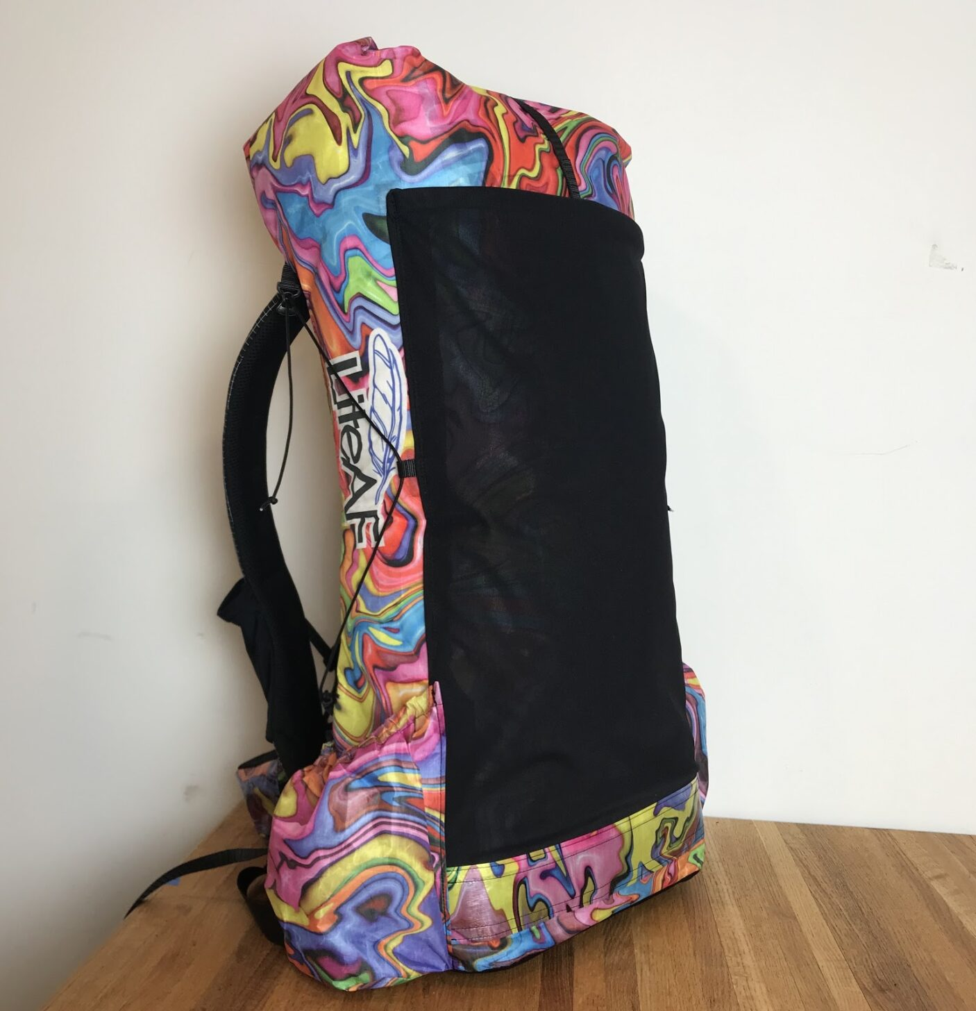 an ultralight pack with colorful swirls