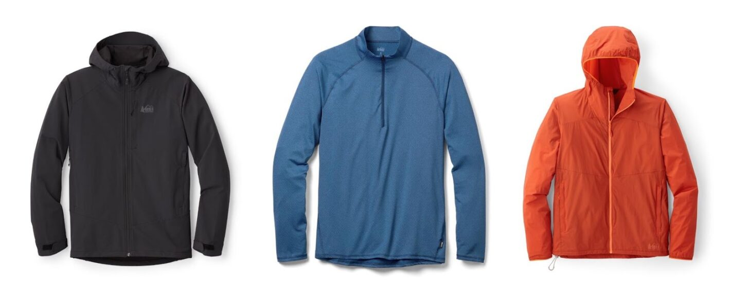 three jackets from REI