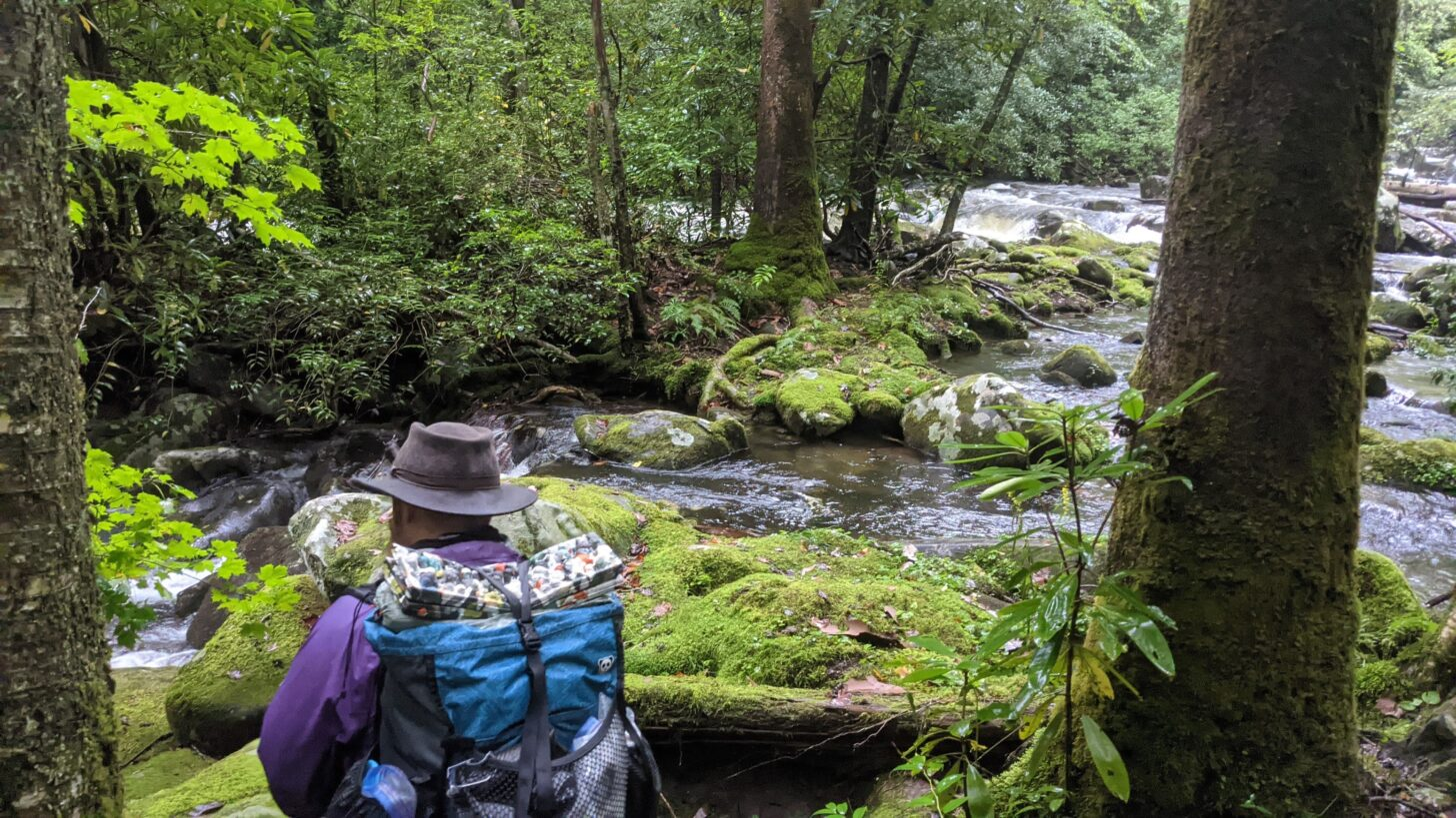 a man wearing a backpack contemplates a stream crossing