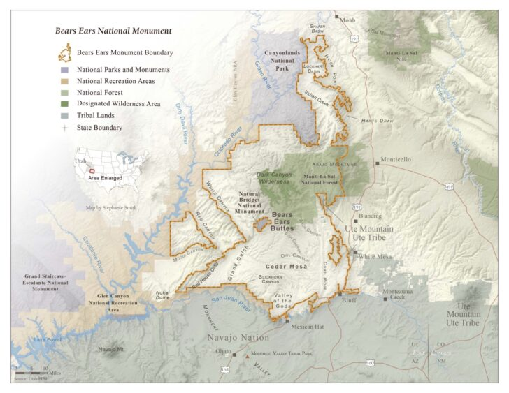 a map of the Bear's Ears National monument