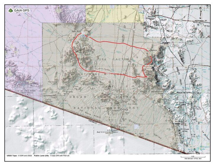 a map showing a route through the mountainous desert