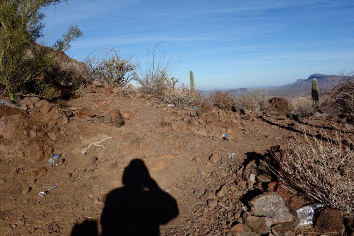 trash on a desert path