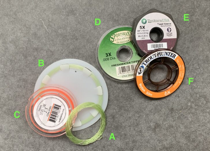 assortment of spools of sample tenkara lines and tippet material