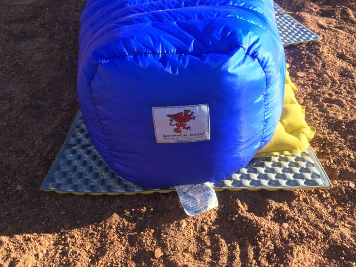 the footbox of the quilt lofts up very large as it rests on a sleeping pad on the desert floor