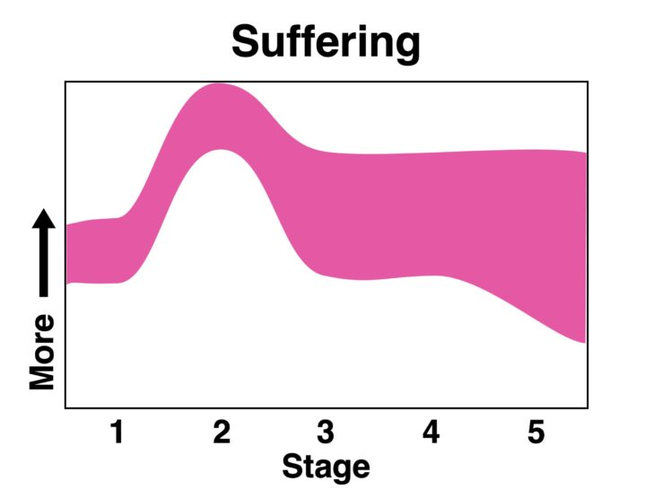 a chart showing the line of suffering rising dramatically as it approaches Stage 2, but then decreasing through the rest of the stages.