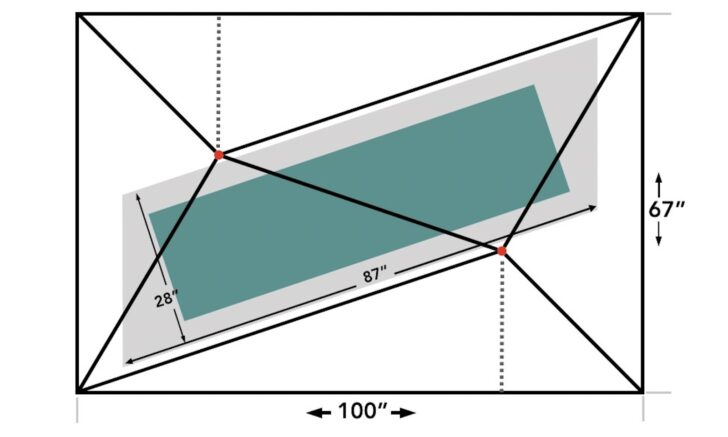 a tent floorplan illustration which shows the width of the outer wall at 67 inches and the length of the outer wall at 100 inches. The inner area of the tent is at a diagonal, offset with two trekking poles represented by red dots.