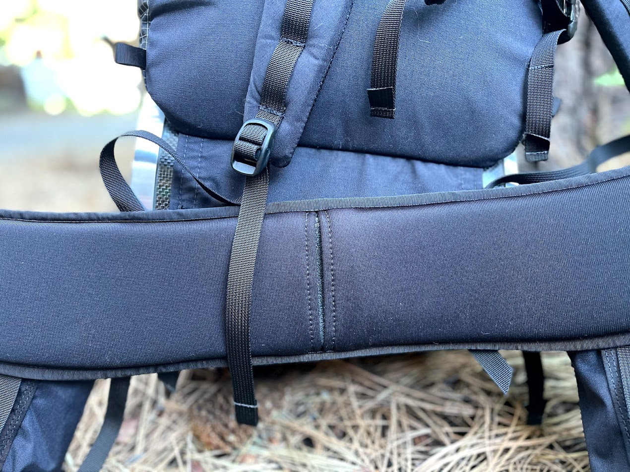 A close up of the pack's hipbelt.