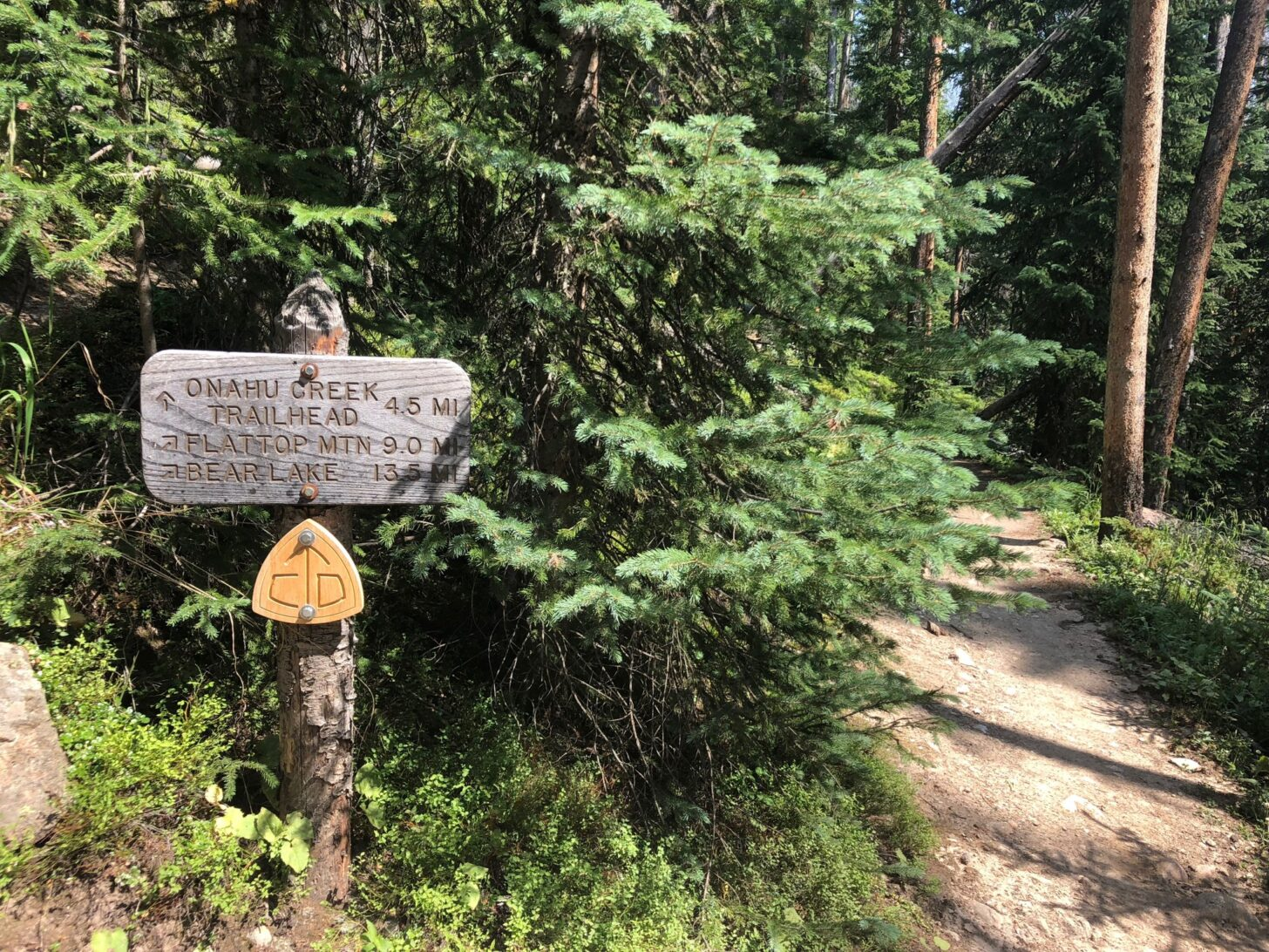 a trail sign at a trail junction. The sign has distances for various points along the trail.