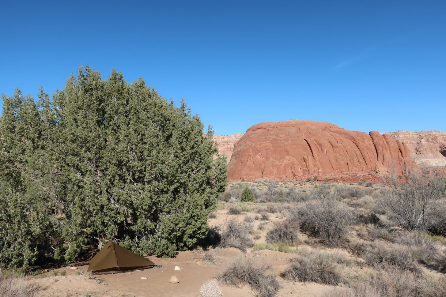 a flat campsite under a blue sky with red sandstone rocks in the background