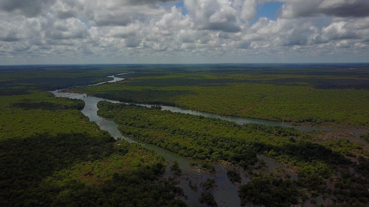 an aerial photo of a dark river snaking through lush forest