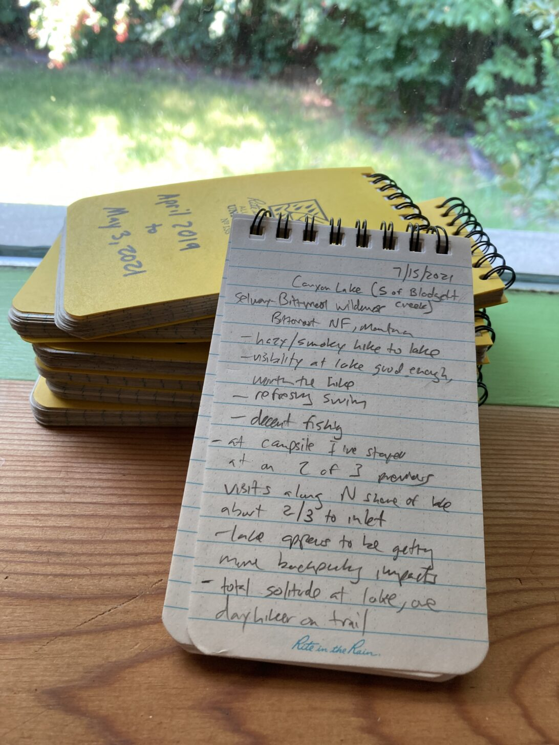 A decade of trips are accounted for in these small notebooks. I look forward to looking back on the most recent entry in a few years.
