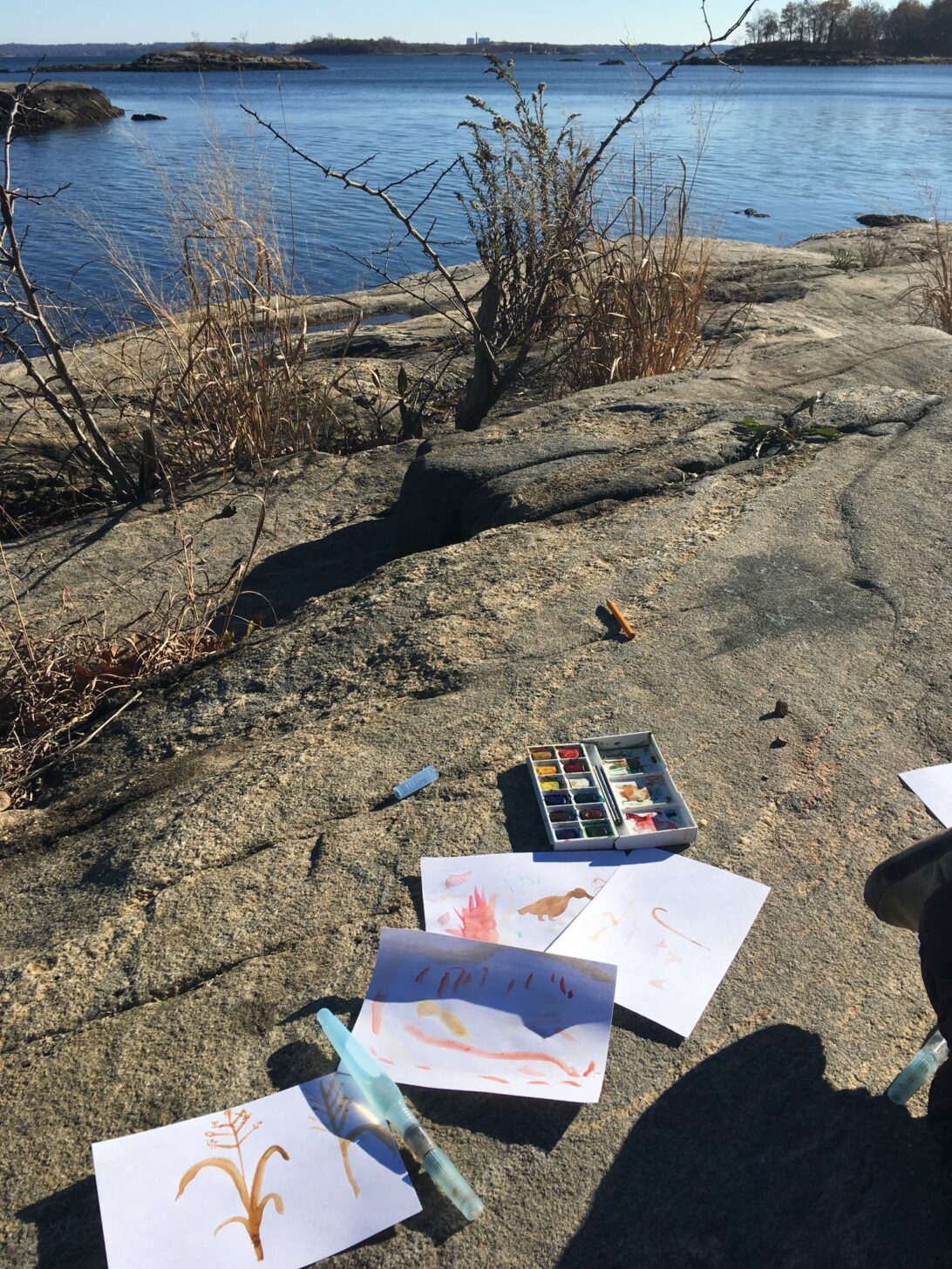 a travel watercolor kit and some paintings next to a lake