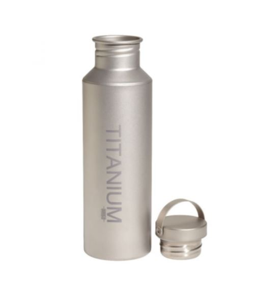 stock image of a titanium water bottle